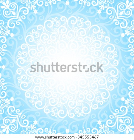 Blue christmas card with lacy snowflake, vector eps 10 - stock vector