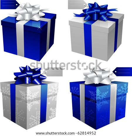 Blue Christmas gift boxes - stock vector