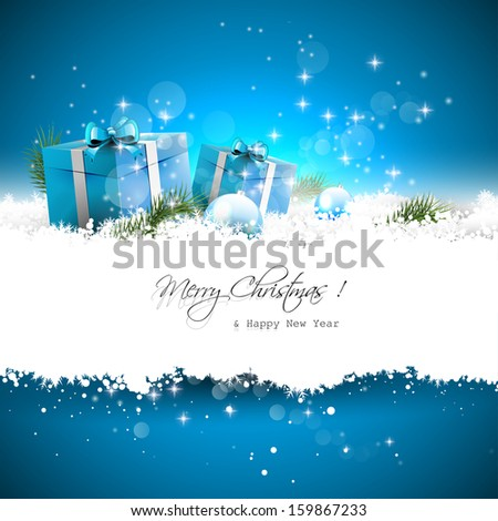 Blue Christmas greeting card with gift boxes and branches in snow and with place for text - stock vector