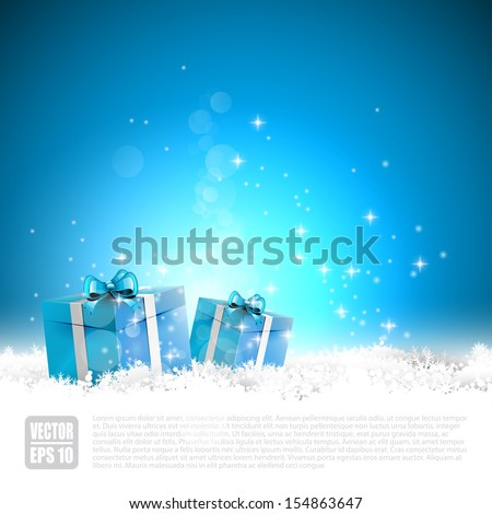 Blue Christmas greeting card with gift boxes in the snow - stock vector