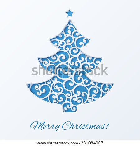 Blue Christmas tree with star. Design elements for holiday cards.  Beautiful applique. Abstract design. Vector illustration. - stock vector