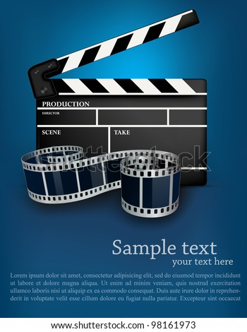 Blue cinema background with black movie clapper - stock vector