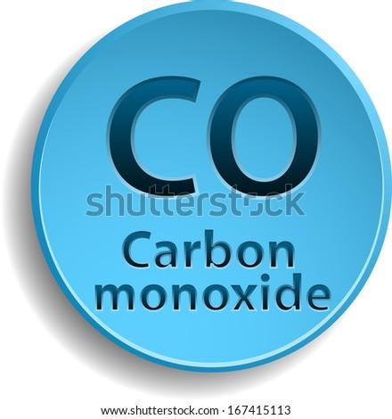 Blue circle button with carbon monoxide. eps10 - stock vector