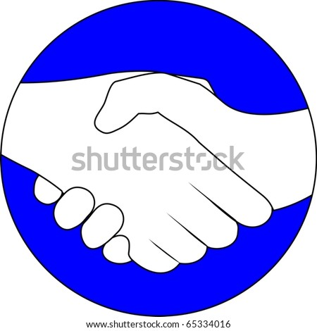 Blue circular symbol with two hands clasped - stock vector