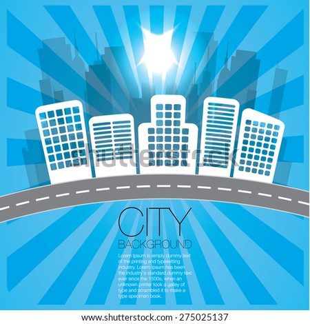 Blue City Background - stock vector