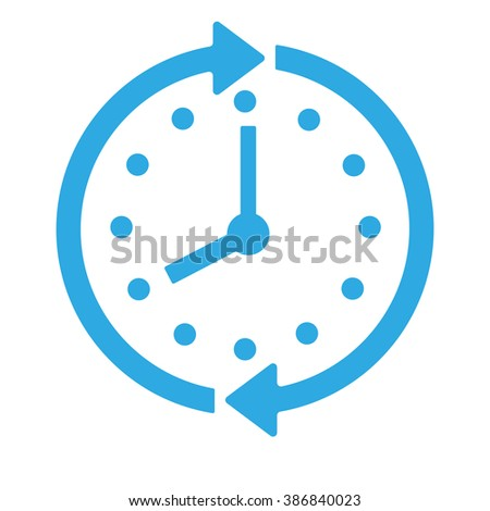 Blue Clock icon isolated on background. Modern simple flat time sign. Business, internet concept. Trendy support vector watch symbol for web site design or button to mobile app. Logo illustration  - stock vector