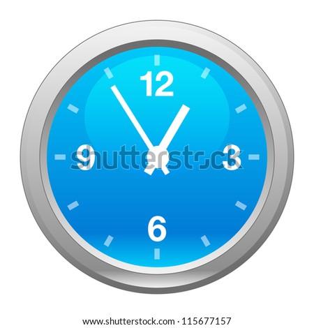 Blue Clock, vector - stock vector