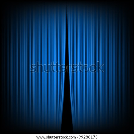 Blue closed the curtain, lit by a spotlight - stock vector
