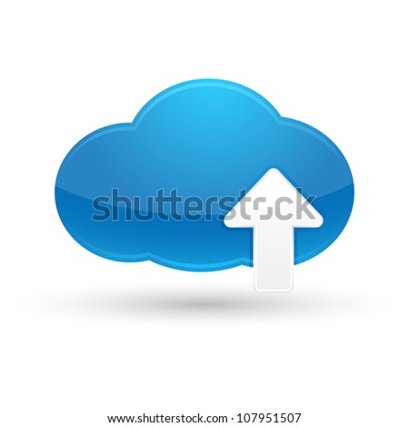 Blue Cloud Upload icon - stock vector