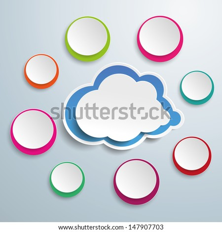 Blue cloud with colored circles on the grey background. Eps 10 vector file. - stock vector