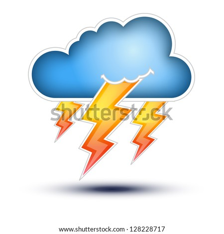 Blue Cloud with Lightning signs for Bad Weather  Cloud Icon with lightning signs on white background, Button Concept on white background - stock vector