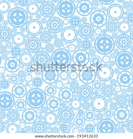 Blue cogwheels on the white background. Vector seamless pattern. - stock vector