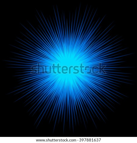 Blue cold star explosion on black background, vector design. - stock vector