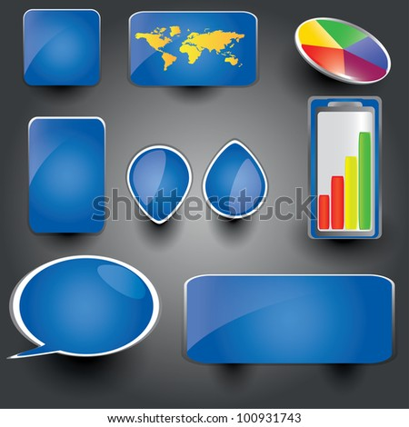 Blue collection of brightly colored, glossy web elements Perfect for adding your own text or icons. Blends used to create drop shadow effect. - stock vector