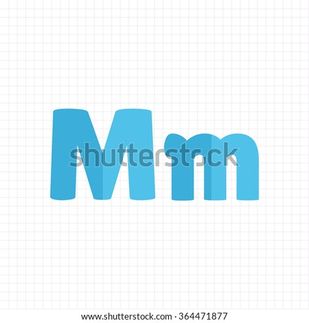 blue color alphabet letters M - stock vector