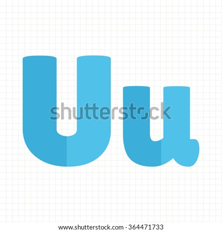 blue color alphabet letters U - stock vector