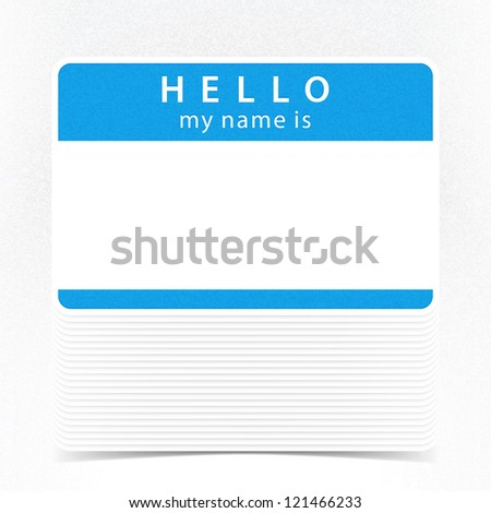 Blue color name tag HELLO my name is. Pile blank stickers with drop gray shadow on white background. This vector illustration clip-art element for design saved in 10 eps - stock vector