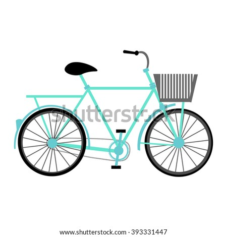 Blue color vector graphic illustration of most popular model of bicycle one bike with basket pedal-driven single-track vehicle with two wheels attached to frame on white background - stock vector