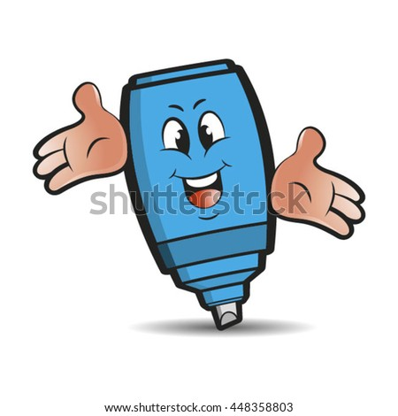 blue colored happy marker pen spreading hands-vector drawing - stock vector