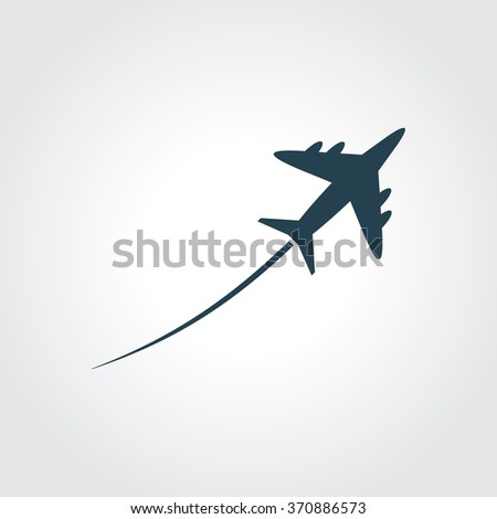 Blue Colored Icon of Airplane On Gray Color Background. Eps-10. - stock vector