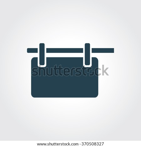 Blue Colored Icon of Blank Hanging Bill Board On Gray Color Background. Eps-10. - stock vector