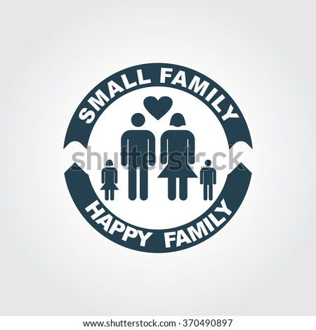 Blue Colored Icon of Family On Gray Color Background. Eps-10. - stock vector