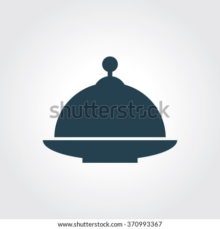 Blue Colored Icon of Food Cover On Gray Color Background. Eps-10. - stock vector