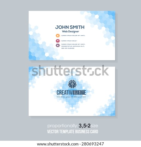 Blue Colors Abstract Hexagon Elements Low Poly Style Business Card Design - stock vector