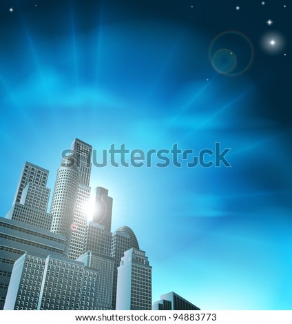 Blue corporate cityscape with skyscrapers and office blocks - stock vector