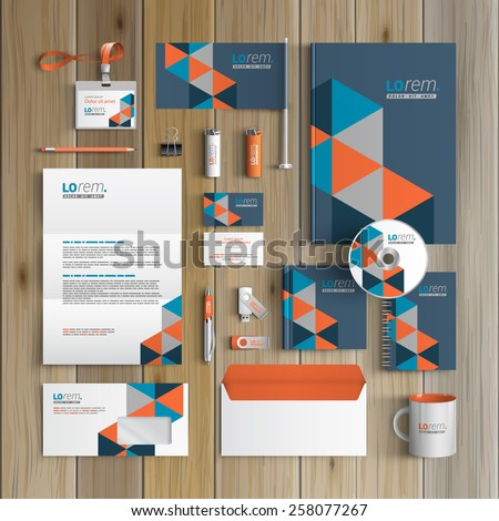 Blue corporate identity template design with geometric pattern. Business stationery - stock vector
