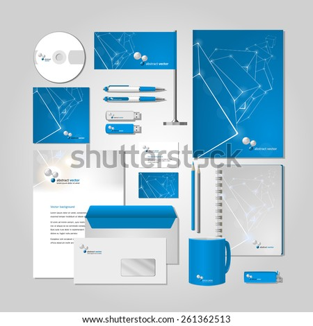 Blue corporate style -  business cards, a disk, a flag, the handle, a flash card, the form,  an envelope, a mug, a notebook, a pencil. Vector. - stock vector