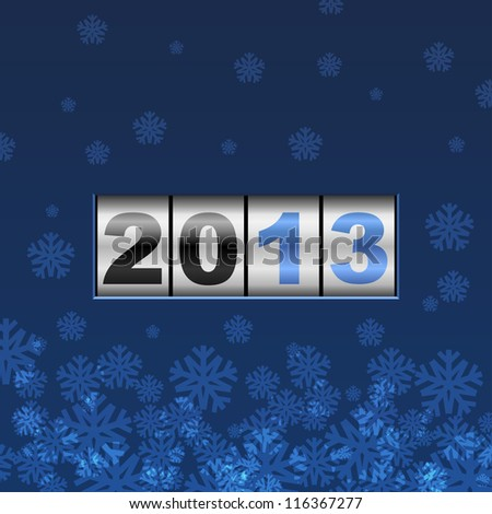 Blue counter 2013 year card with snowflakes. - stock vector