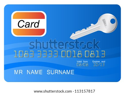 Blue credit card with vector key as element - stock vector