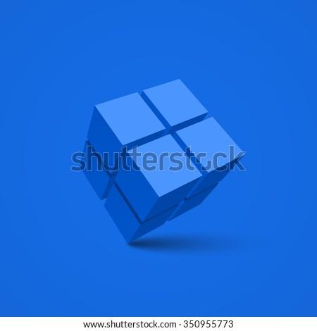 Blue cube. Cubes. 3d vector. Vector illustration. - stock vector