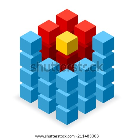 Blue cube logo with red and yellow segments - stock vector