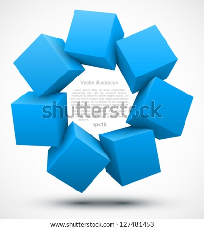 Blue cubes 3D. - stock vector