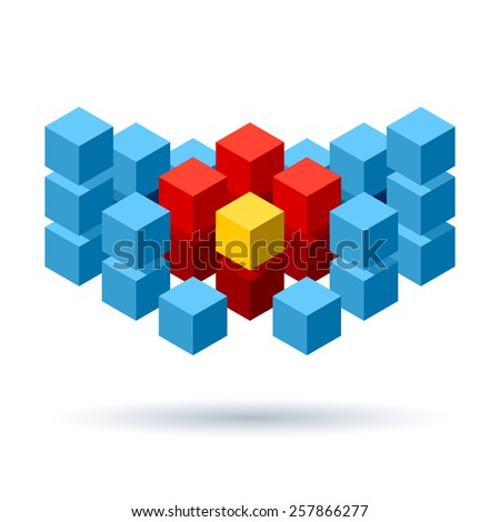 Blue cubes logo composition with red and yellow segments - stock vector