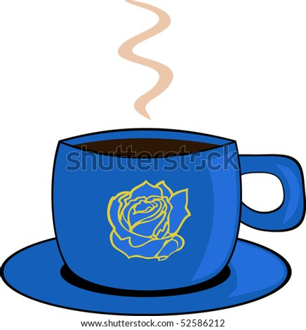 Blue cup of coffee - stock vector