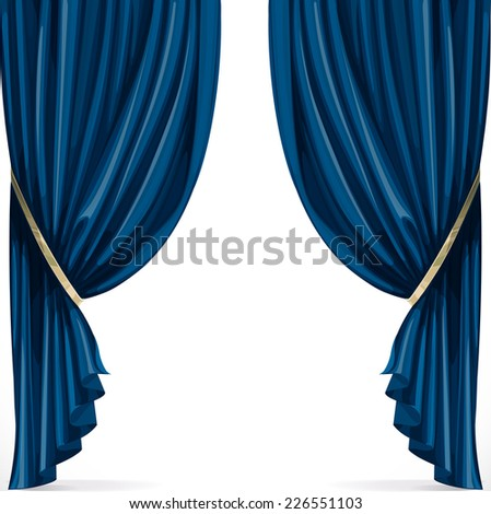 Blue curtain collected in folds ribbon isolated on a white background - stock vector