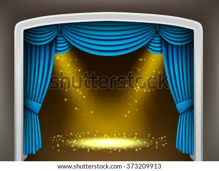 Blue curtain of classical theater with gold spotlights and sprinkles - stock vector