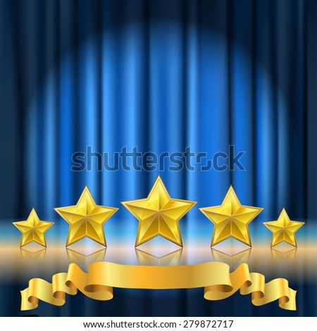 blue curtain theater background and a row of golden realistic stars with reflection - stock vector