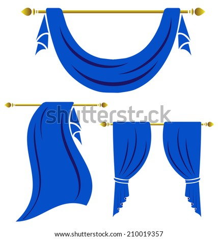 Blue curtain vintage vector set on white background - stock vector