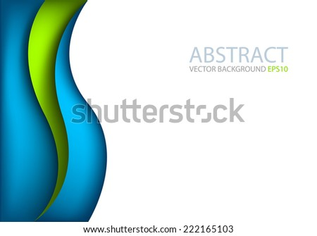 Blue curve green wave line background on white space for text and message modern artwork design - stock vector