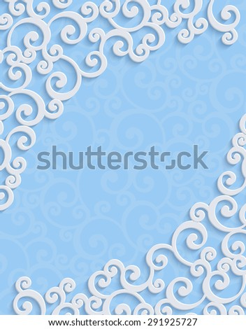 Blue 3d Floral Swirl Vertical Background with Curl Pattern for Wedding or Invitation Card. Abstract Vector Vintage Design Template - stock vector