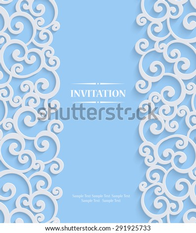 Blue 3d Swirl Wedding or Invitation Card with Floral Curl Pattern, Christmas Vector Template Background - stock vector