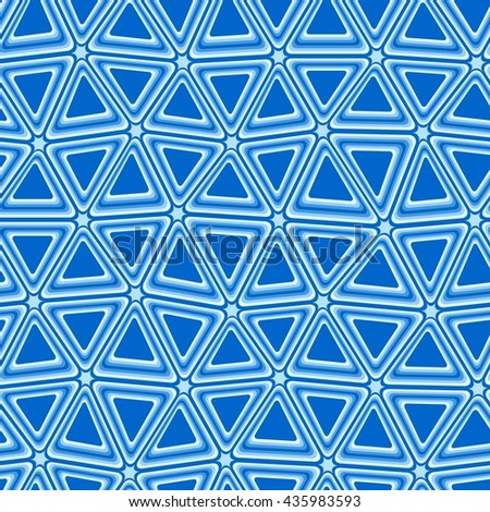 Blue 3d triangle tiles - seamless vector pattern - stock vector