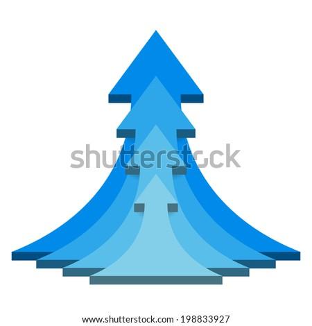 Blue 3D up arrows concept - stock vector
