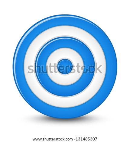 Blue darts target aim on white background - stock vector