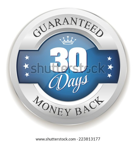 Blue 30 days money back badge with silver border on white background - stock vector