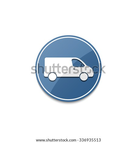 Blue delivery van icon with shadow - stock vector